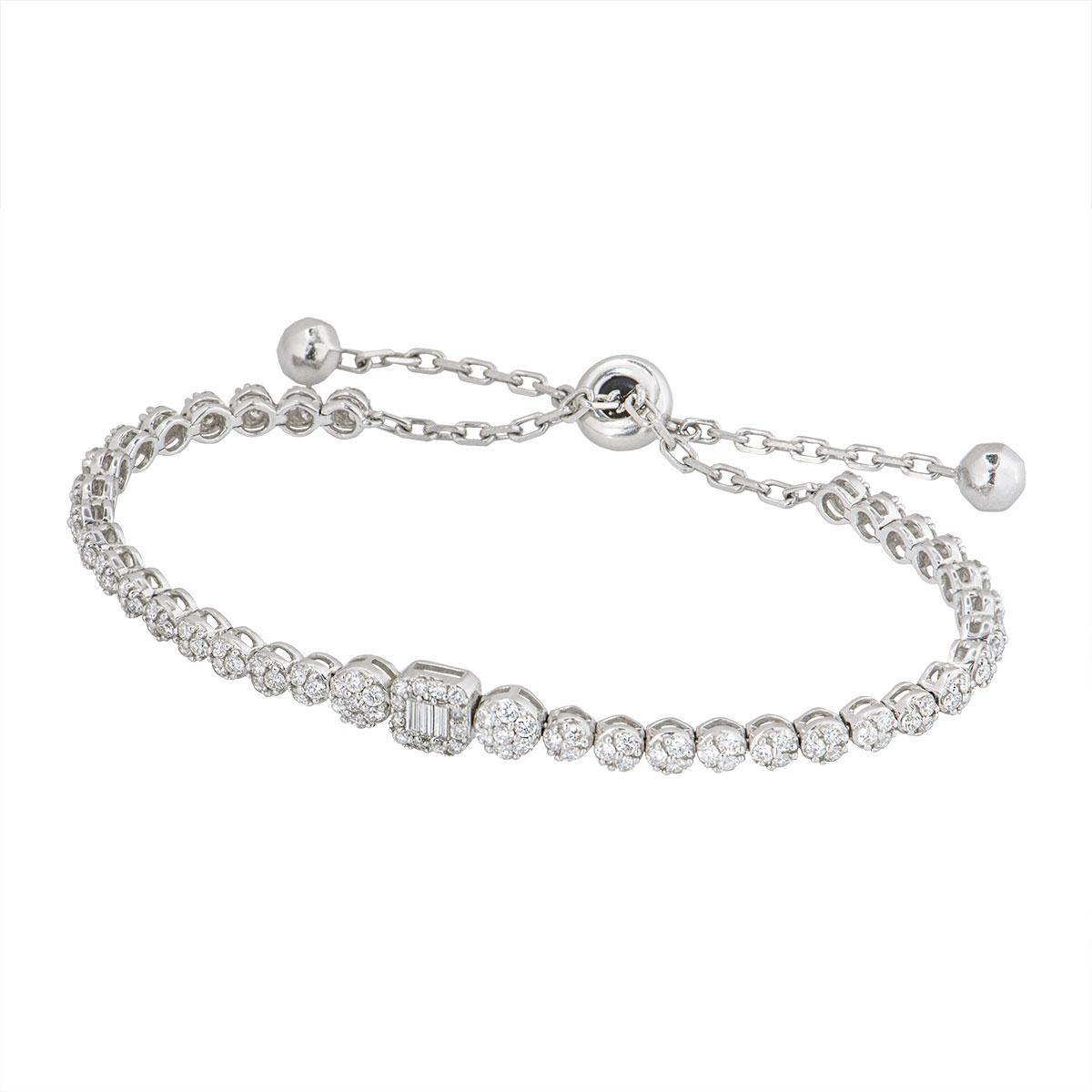 White Gold Illusion Set Diamond Line Bracelet
